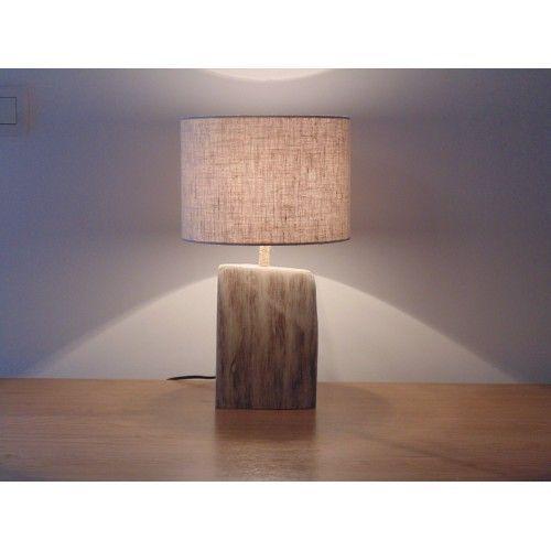 Lampe Bois Flotte Abat Jour Lin O25 Cm Zen Scandinave Deco