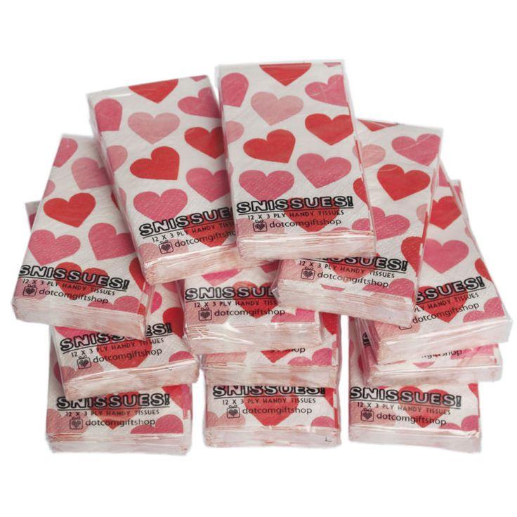 dotcomgiftshop 12 PACKS HEARTS DESIGN POCKET TISSUES PARTY BAG STOCKING FILLERS | eBay