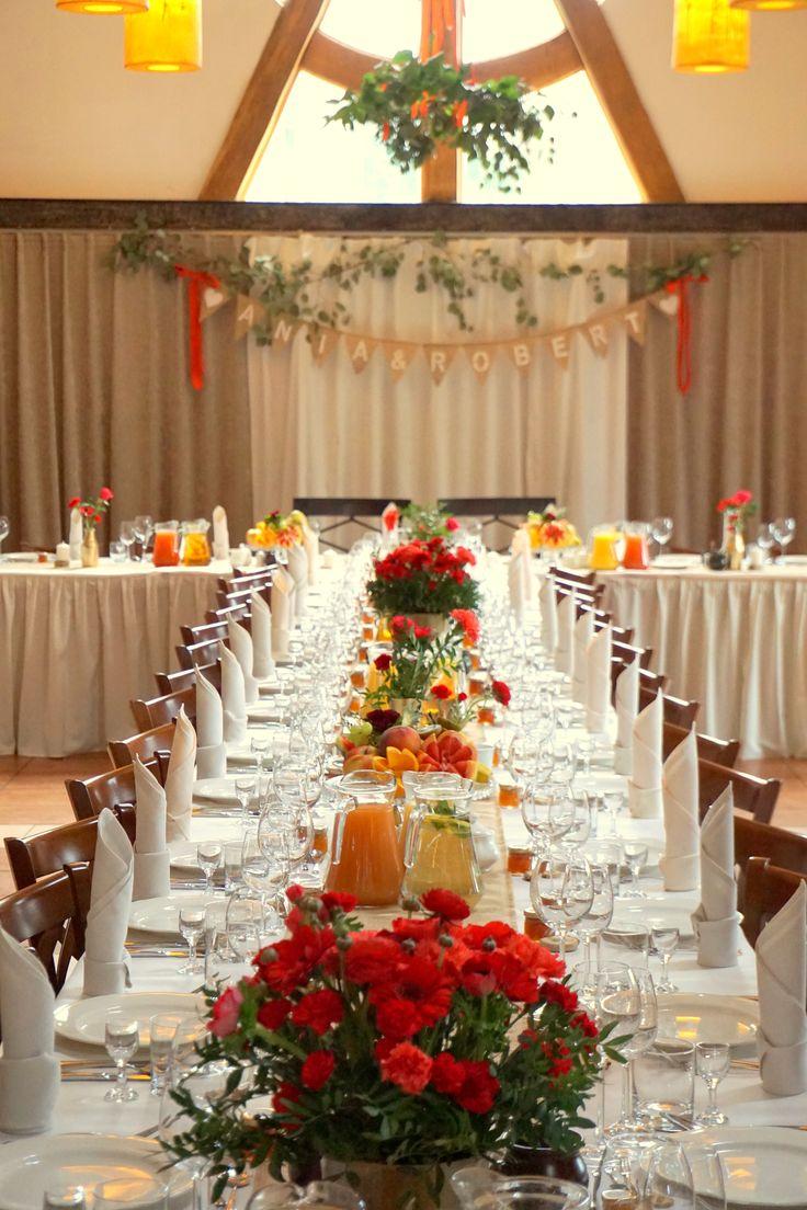 #decoration #wedding #flowers #rustic #redflowers #pantonfiestared #bouquet #red