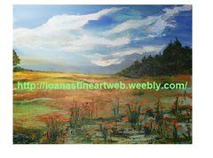 "Orange flowers; Acrylic on Canvas; 24""H x 30""W"