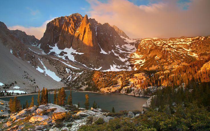 Big Pine Canyon, Сьерра-Невада, Испания, горы, снег, деревья, озеро