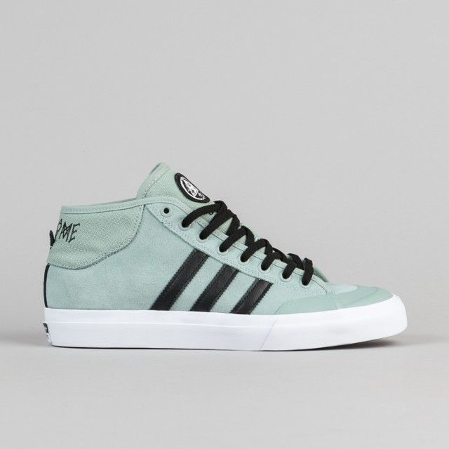 Adidas X Welcome Skateboards Matchcourt Mid Shoes - Mist Slate / Core Black / White | Flatspot