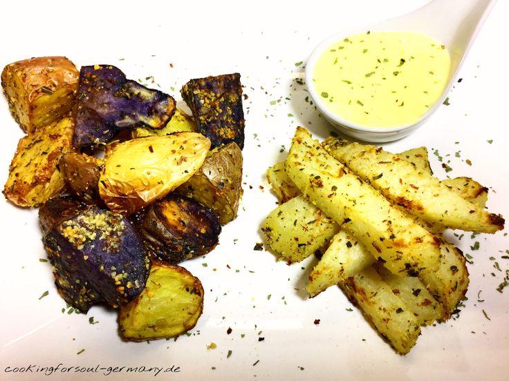 Ofenkartoffeln und -kohlrabi mit Avocado-Öl - ein vegetarisches und veganes Mittagessen mit drei verschiedenen Kartoffelsorten. U. a. Trüffelkartoffeln