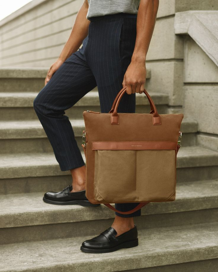 The Ohare II Tote in Beige/Cognac and the Marcos Loafer