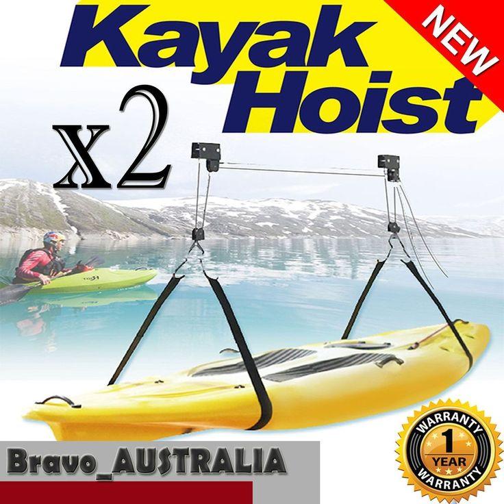 2 X Kayak / Bike Hoist Lift Pulley System Storage 13m Rope 1.8m Mounting Strap