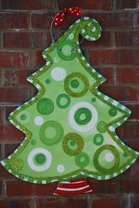 Christmas Tree Burlap Door Hanger