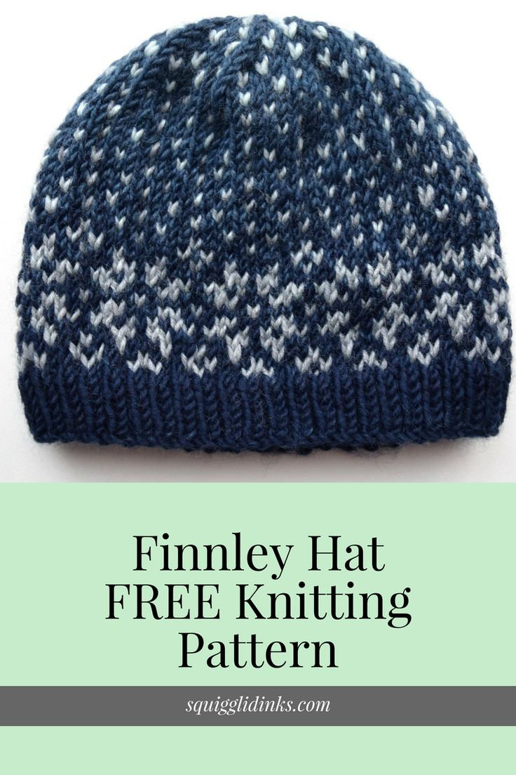 Finnley Hat -- FREE Fair Isle knitting pattern from Squigglidinks