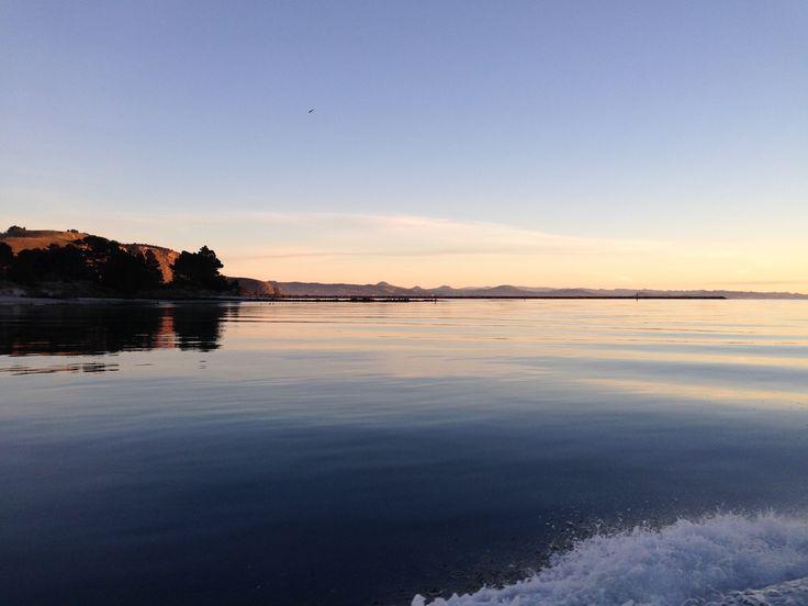 Sunrise over the Aramoana Mole, Dunedin NZ