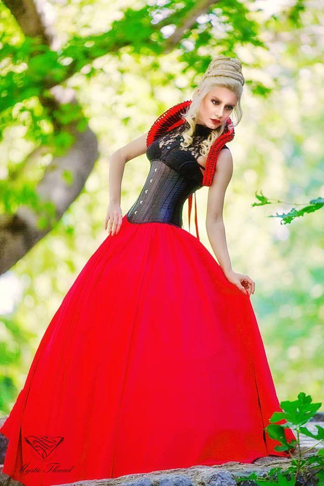 Crinoline skirt, corset & elizabethan collar by Mystic Thread / Model Φαιη Λαιμου /  Photo: Andy Van Rose / Clothes & Accessories: Mystic Thread-www.mysticthread.com / Assistant: Undefiled Photography & Editing /  MUA: Christina Kollia MakeUp Artist /  Hair: Maria Mplatzouka Xanthopoulou #mysticthread #gothicshop #gothicaccessories #victorianaccessories #gothicclothes #victorianclothes #costume #elizabethan #renaissance #crinoline #corset #rufflcollar #red