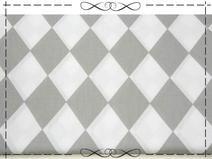 Baumwolle, Karo, Rauten 9 cm, grau - weiß