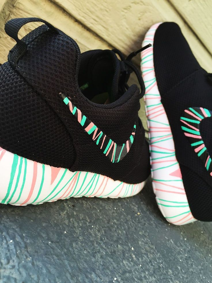 Women S Custom Nike Roshe Run Sneakers South Beach Teal Pink Petals Fashionable Design