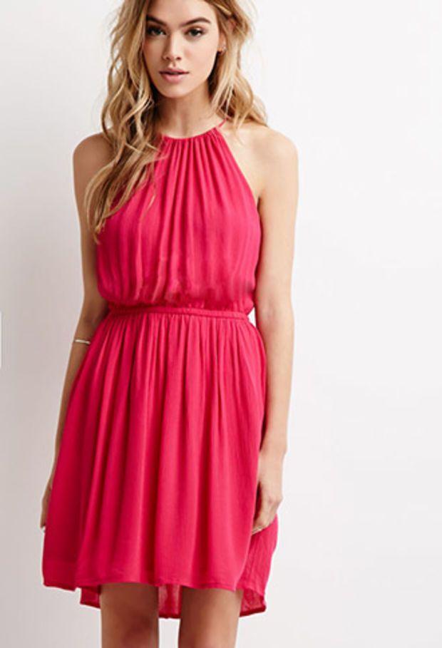 Crinkled Crepe Halter Dress