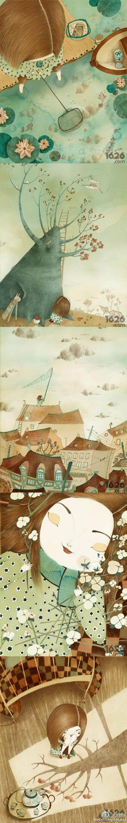 法国女插画师Isabelle Demarly的作品,诉说着每一个女孩心里都会有的无数秘密,还有我们儿时的疯狂事情,天真但是又经常闯祸,无知但是却快乐无比