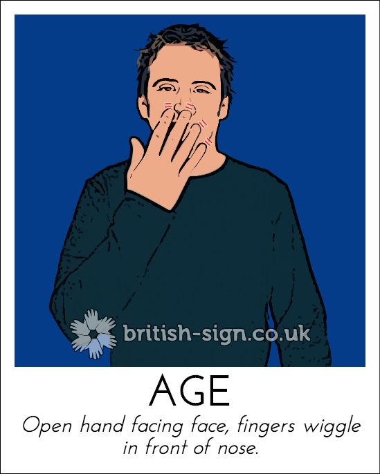 Today's British Sign Language sign is: AGE - find more at www.british-sign.co.uk - #BSL #BritishSignLanguage