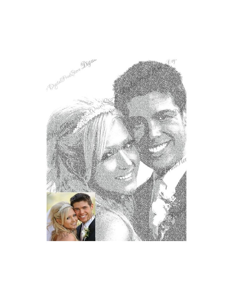 """Custom Portrait From Your Photo Wedding of """"Customized Photos From Your Wedding 01""""  #Canvas #Art using your #photos and #words. #Canvas #Wall #Decor #Personalized for you or your family using your #photos and words or #vow and #family #sign, great for a #wedding #gift, #engagement gift, #nurserydecor. #DigitalPrintStore on #Etsy"""