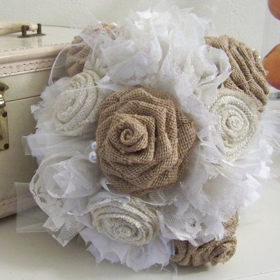 Burlap and Lace Wedding Bouquet Vintage