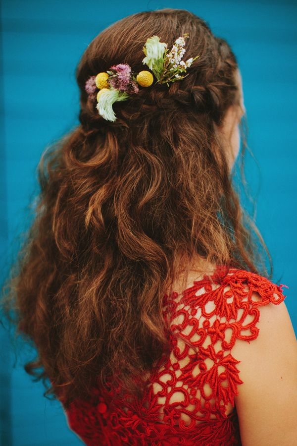 bohemian wedding hair, photo by Brittany Esther http://ruffledblog.com/australian-yacht-club-wedding #braids #weddinghair #brides