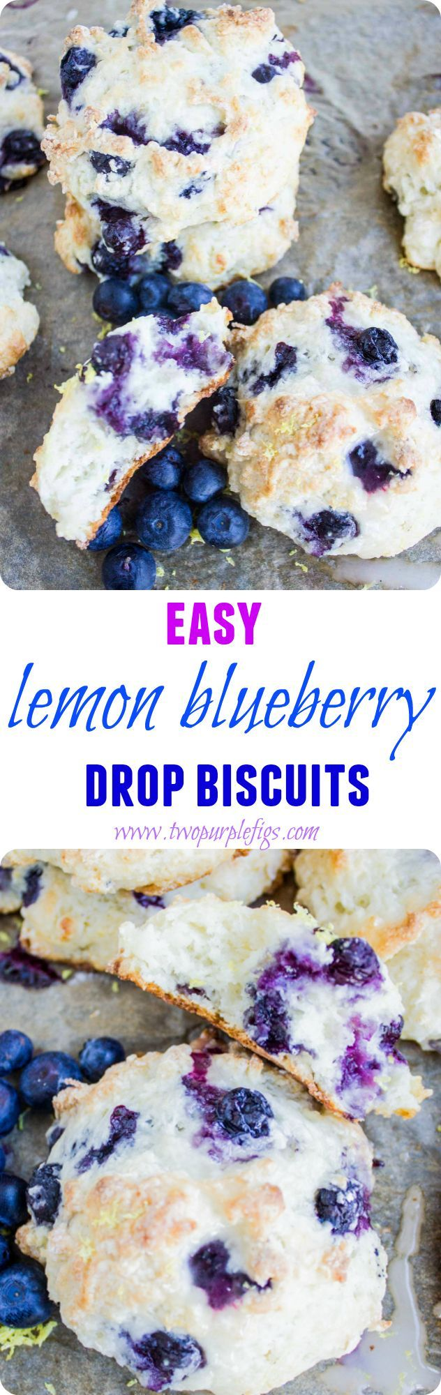 What's a cross between muffin tops and fluffy melt in your mouth biscuits? These easy, really Easy Lemon Blueberry Drop Biscuits! A last min crowd pleaser every time. www.twopurplefigs.com