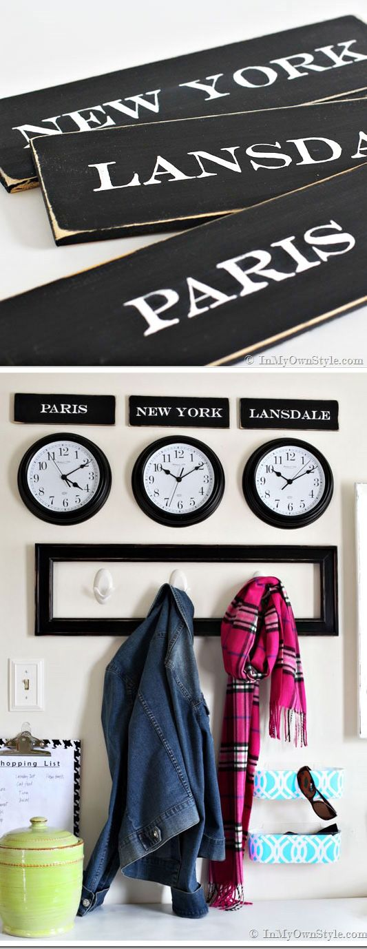 Creative decorating idea. Make the town you live in sound like a chic place to live when you make city signs to go above time zone clocks that say your town, Paris, New York, or your favorite city. | In My Own Style