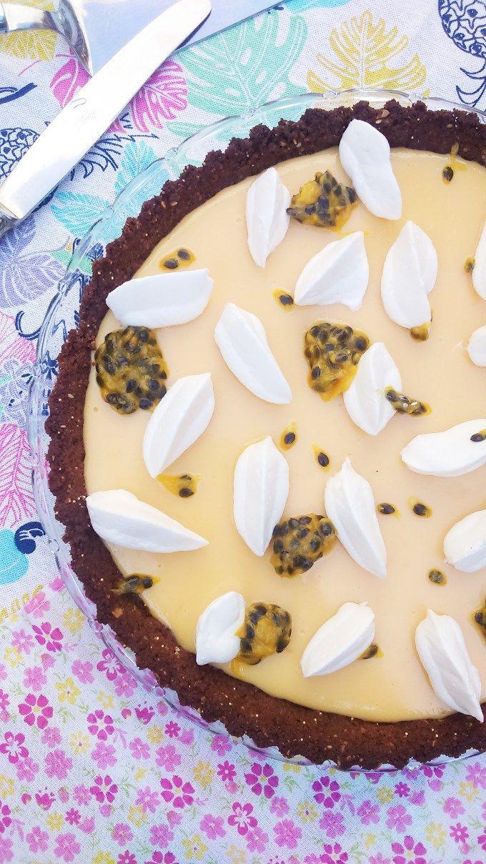 Pie de Maracuya para festejar la primavera  Es como el famoso Key Lime Pie pero con buen favor a fruta de la pasión
