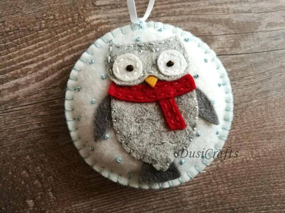 Felt Christmas ornaments - Owl decorations, Woodland Christmas decor / wool blend felt/ white background This listing is for 1 ornament Size about 8 cm Material wool blend felt Handmade from felt with high precision and great care Please note that ornaments are decorated on one side