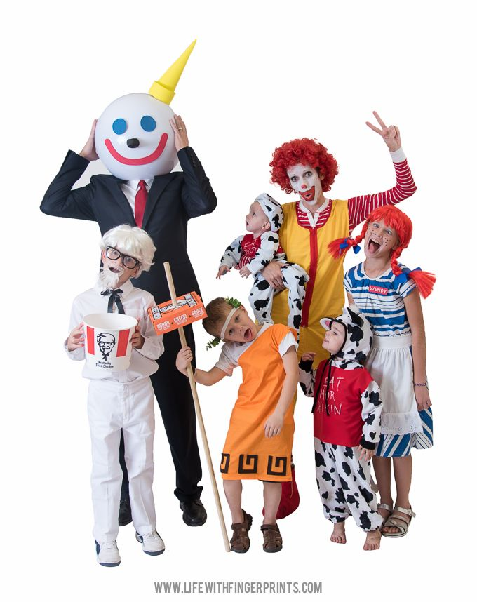 Fun Halloween family costumes, fast food mascot style. Jack-in-the-box, Ronald McDonald, Wendy, Colonel Sanders, Little Caesar and the Chick-Fil-A cows