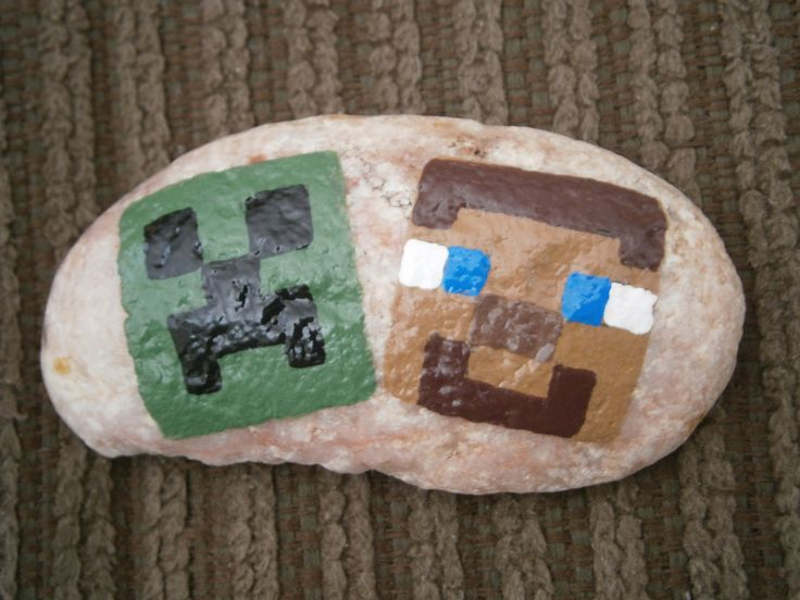 Minecraft Painted Rock, Creeper and Steve.....at www.Etsy.com/shop/PlaceForYou.