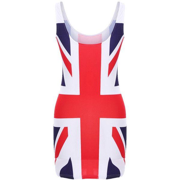 Union Jack Dress ($34) found on Polyvore featuring women's fashion, dresses, vestidos, bodycon mini dress, british flag dress, red mini dress, print dresses and scoop-neck dresses