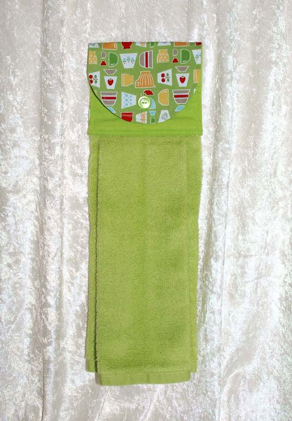 Hanging Kitchen Towel • Green Hand Towel • Lime • Vintage Pyrex Bowl & Fire King Tulip Print • Cherry • Strawberry • Gifts • FREE SHIPPING
