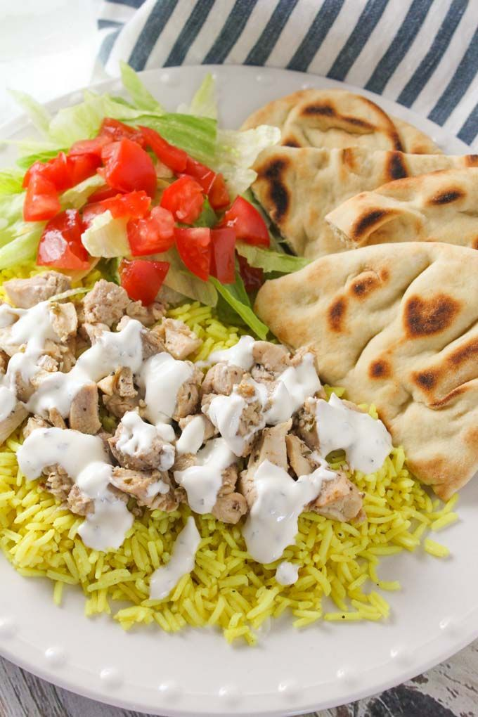 This copycat recipe for the halal guys chicken and rice with white sauce is just like the real thing in New York City! Make it at home!