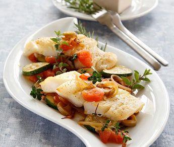 Rezept: Heilbutt mit Tomaten-Zucchini-Gemüse