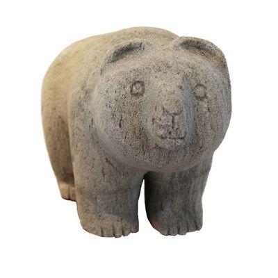 FeatherockInc Hand-Carved Pumice Stone Garden Bear Statue