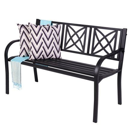 Paracelsus 4 Foot Metal Garden Bench In Black In 2019 Metal