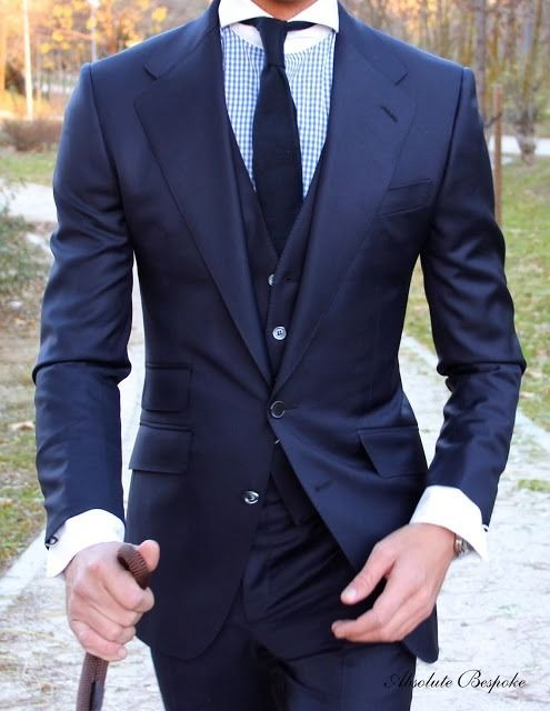 Blue three piece suit, by Absolute Bespoke