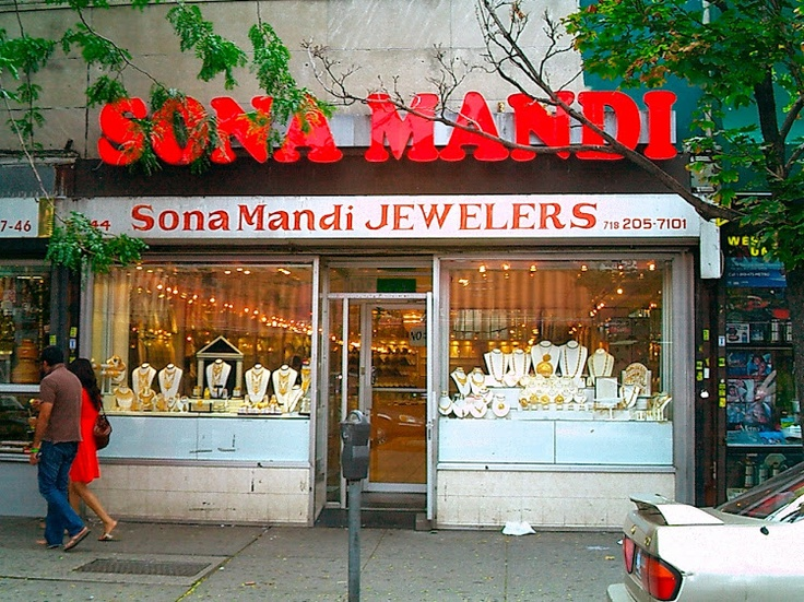 """Sona and Mandi."" Sona Mandi, Jackson Heights, September 2008. But what does its name mean? ¶ Sona Mandi, 37-44 74th Street, Jackson Heights, 3 September 2008. (Photograph by Elyaqim Mosheh Adam.) … #Hindi #IndoIranian #Urdu #Punjabi #JacksonHeights #language #autumn #IndoAryan #NYC #linguistics"