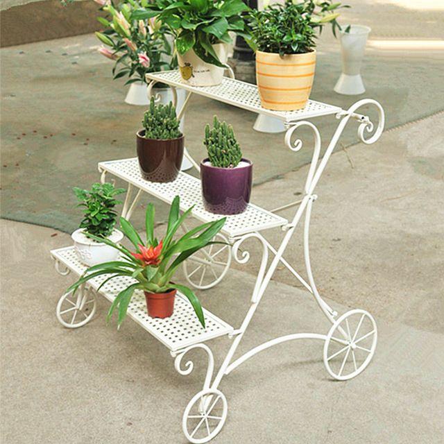 096 hierro flor soporte balcón flor escalera titular de la maceta carnosa flor de la planta