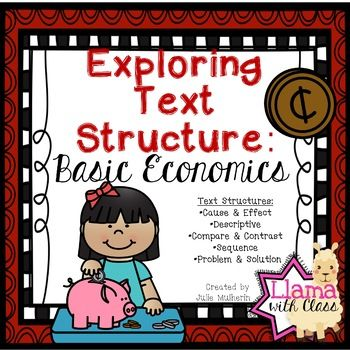 Enjoy this freebie with information about Basic Economics written in different text structures. Students will read each paragraph and identify the text structure being used. The first worksheet includes all the examples on one page. The rest of the worksheets have the same examples with one example per page and give a place for students to fill out a graphic organizer.