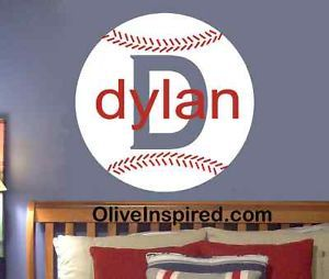 sports wall art decals | ... Sports Theme PERSONALIZED Vinyl Wall Decal Art Nursery Decor Boys Room