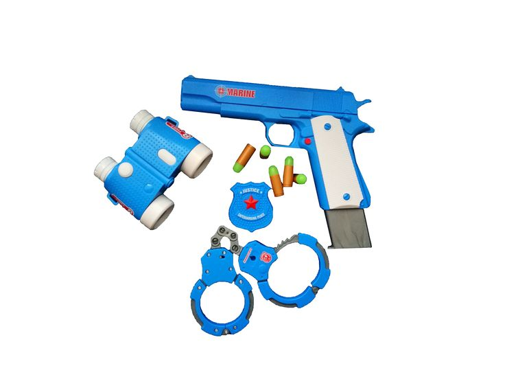 Toy Gun Play Set By Zahar Toys: Classic Colt m1911 Pistol, Binocular Goggles, Soft Fluorescent Bullets And Handcuffs Plastic Policeman Kit And Animal Rings, Tiger And Giraffe, Realistic Replica Gun. REALISTIC PISTOL REPLICA: The toy gun set has a realistic 1:1 Colt m1911 pistol replica that gives you an authentic feeling. The size of the toy gun is the same as a real one, so it can fit in any pistol holder. PERFECT HALLOWEEN COSTUME ACCESSORIES: The toy set includes a realistic gun, a…
