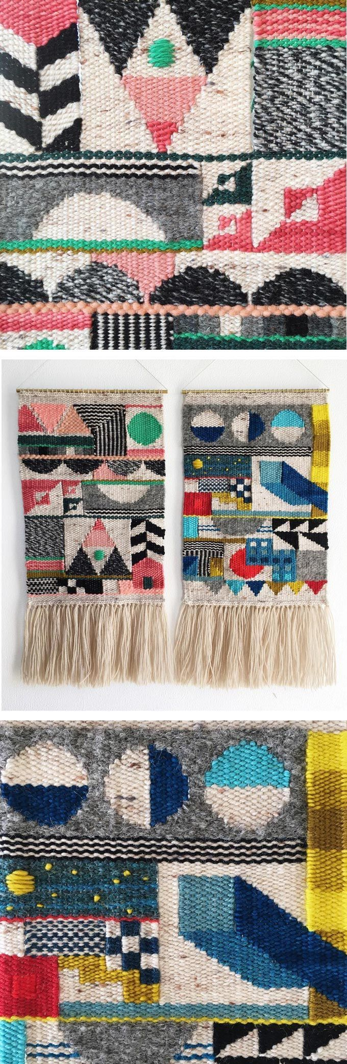 Genevieve Griffiths weaves abstract wall hangings inspired by architectural…