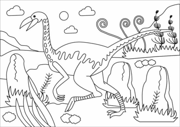 Gallimimus Coloring Page Dinosaur Coloring Pages Dinosaur