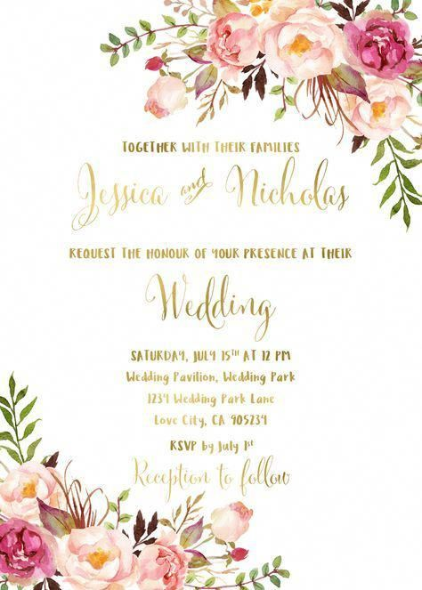 61dfba74d19a  15- 27 Floral wedding invitation suite printable boho wedding invitation  pink blush peonies watercolor bohemian wedding invite wedding flowers Pink  blush ...