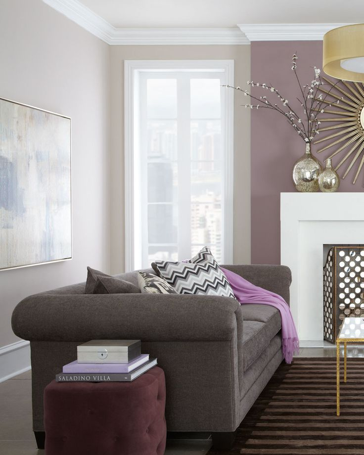 Purple walls and furniture. Nice tones.