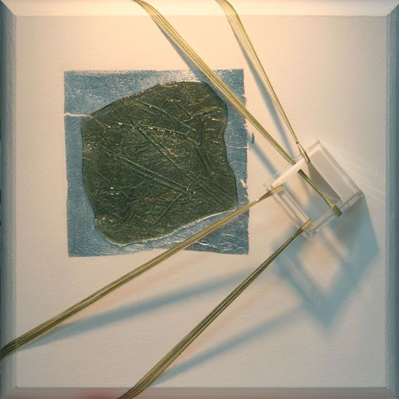 "Leaving, Rick Rogers, Mixed Media Acrylic on Wood Panel, 12"" x 12"", 2013"