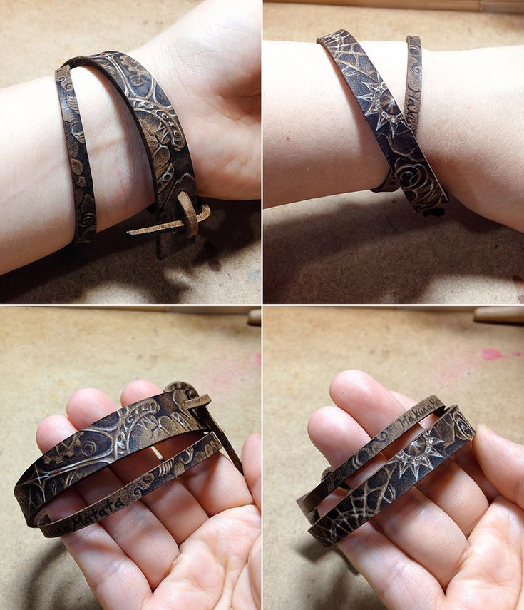 Pyrography on leather bracelet. Materials and tools: Vegetable tanned leather(brown color), Acrylic leather paint, Pyrography tool(Wood burning pen)