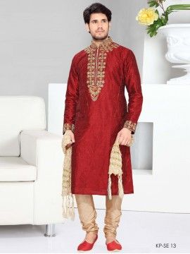 Maroon Color Kurta Pyjama