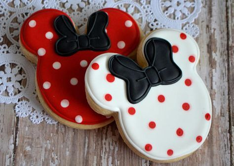Minnie Mouse or Mickey Mouse Polka Dot Ears Shortbread Sugar Cookie Favors, Birthday, Mouse Party, Polka Dot Cookies