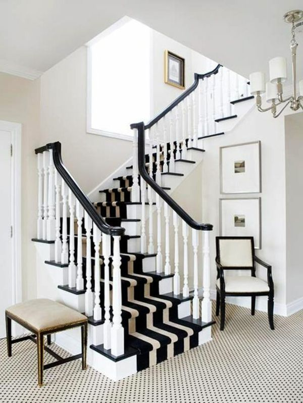 Black And White Carpet On The Stairs Carpet Stairs Black And   Black And White Carpet Stairs   Victorian   Striped   Geometric   Low Cost Simple   Unusual