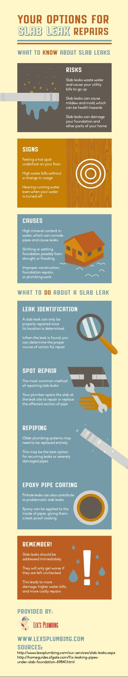 Spot repair, repiping, and epoxy pipe coating are all feasible solutions for a slab leak. Look at this infographic to learn about your options for slab leak repair. #infographic #datavisualization #slab #leak