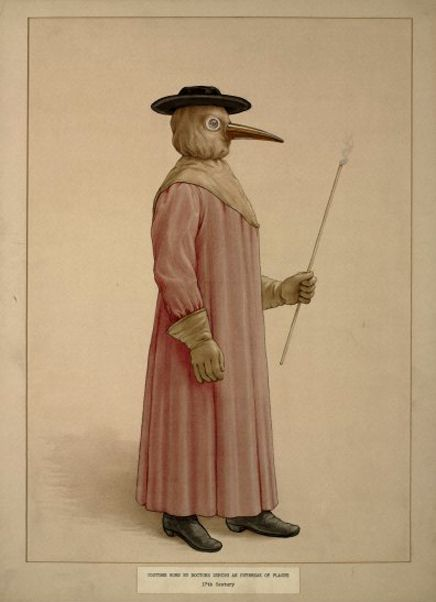 Illustration depicting the costume worn by physicians attending plague patients in the 17th century.